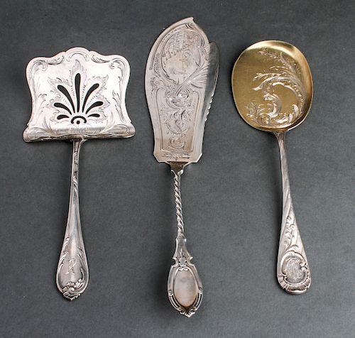 Continental Silver Serving Utensils, 3