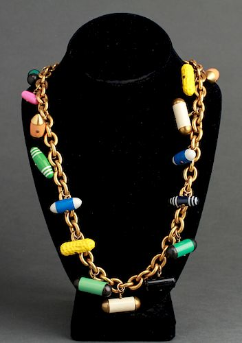 """Chanel """"Peanuts & Pills"""" Runway Charm Necklace"""