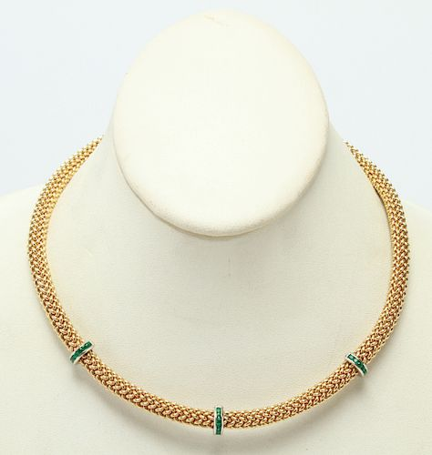 18K Yellow Gold Braid w Emeralds Choker / Necklace