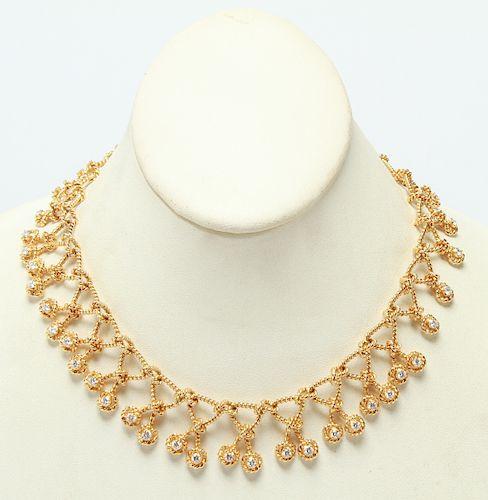 18K Yellow Gold Braid Links w Diamonds Necklace