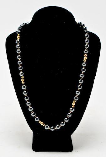 14K Yellow Gold & Hematite Necklace