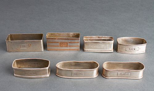 Sterling Silver Napkin Rings Group of 7
