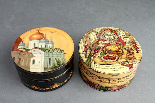 Russian Hand-Painted Lacquer Boxes, Group of 2