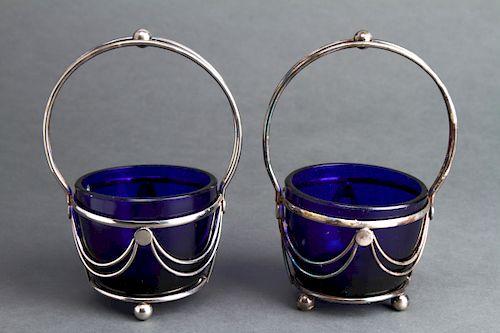 English Silver-Plate & Cobalt Glass Condiments Pr
