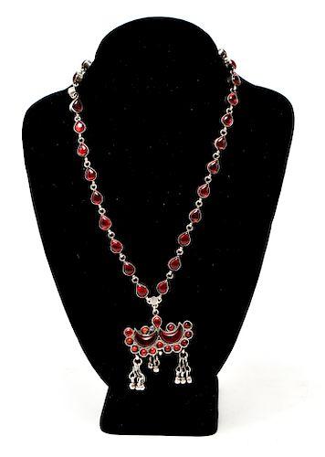 Silver & Faux Gemstone Necklace w Crescent Pendant