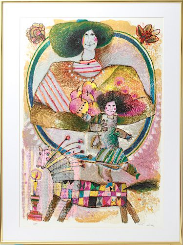 """Theo Tobiasse """"Mother & Daughter"""" Lithograph"""