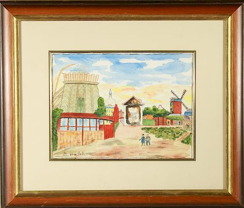 """Elisse Maclet """"Figures and Windmill"""" Watercolor"""