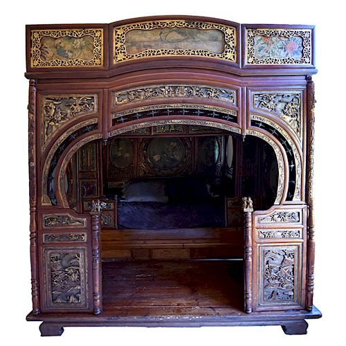 Early 20th c. Chinese Painted Wood Wedding Bed