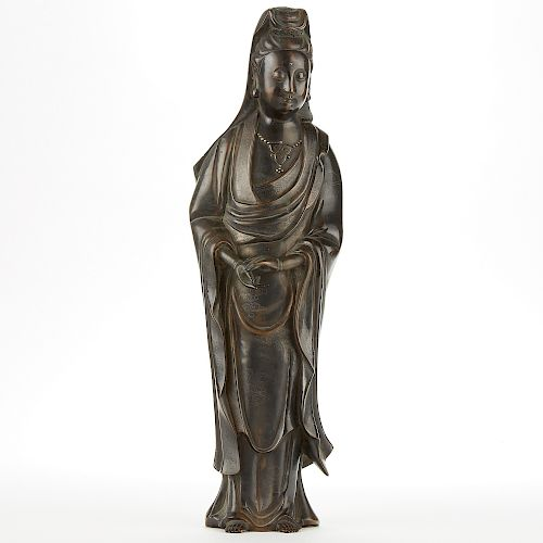 Chinese Bronze Guanyin w/ Silver Inlay 4 Character Mark -Large