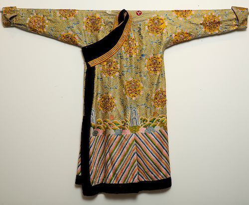 Qing Chinese Embroidered Yellow Dragon Robe