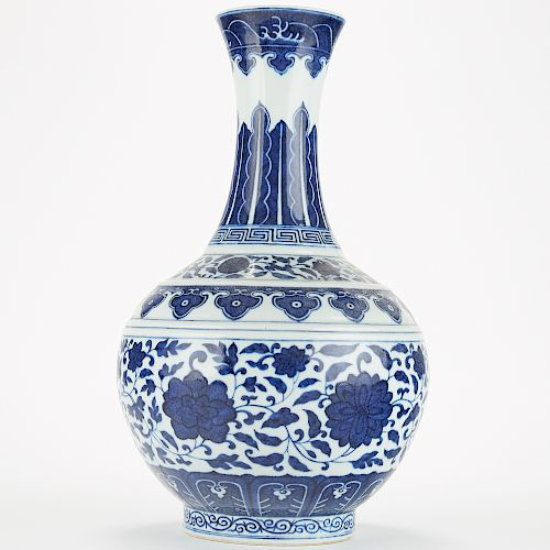 Chinese Qing Blue and White Porcelain Tribute Vase in Ming Style