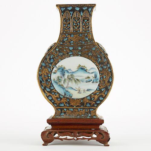 19th c. Chinese Porcelain Faux Bronze Famille Rose Vase