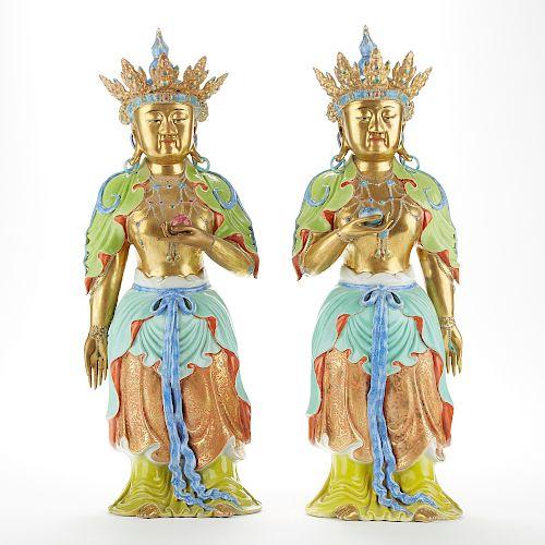 Pr Huge 20th c. Chinese Porcelain Buddhist Figures