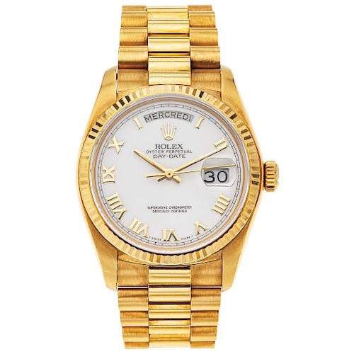 ROLEX OYSTER PERPETUAL DAY-DATE PRESIDENT. 18K YELLOW GOLD. REF. 18038, CA. 1987