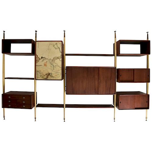 Monumental Mexican Modernist Wall Unit in Solid Mahogany and Goatskin Eugenio Escudero