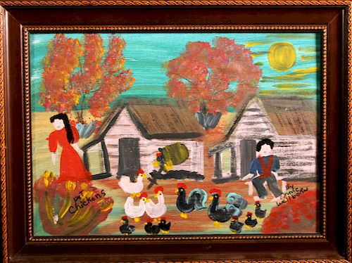 Outsider Art, Annie Wellborn, Pet Chickens in the Moonlight