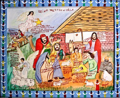 Outsider Art, Myrtice West, Saint Matthew Ch. 1-2 (Birth of Christ)