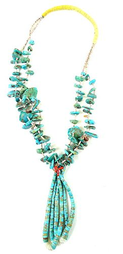 South West Turquoise Nugget Necklace.
