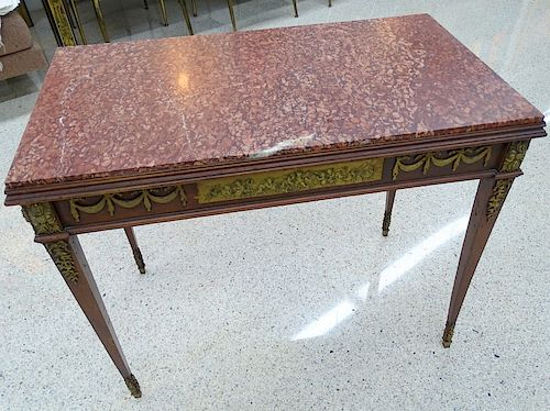 Antique French Marble Top Bronze Mounted Console