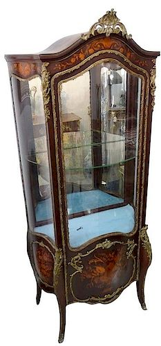 20th century french inlaid bronze mounted vitrine