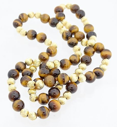14K Beaded Tigers Eye Necklace