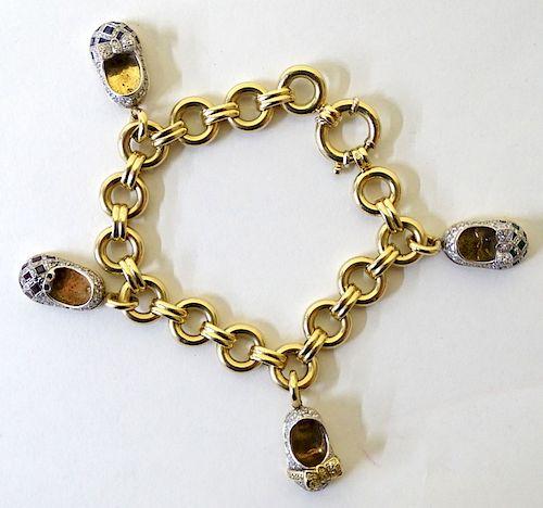 Aaron basha 14 Karat Yellow Gold baby Shoe Bracele