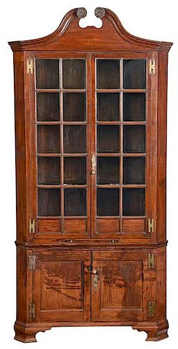 Rare and Important Chippendale Corner Cupboard