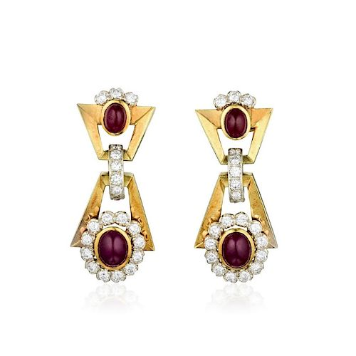 Bulgari Ruby and Diamond Earrings