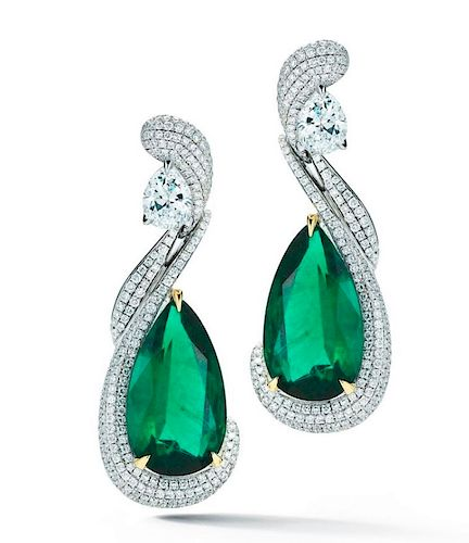 ELEGANT EMERALD DIAMOND EARRINGS GIA CERT.