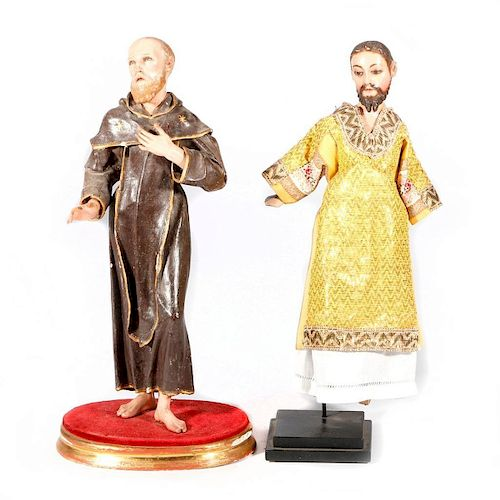 Two Spanish Colonial carved religious figures