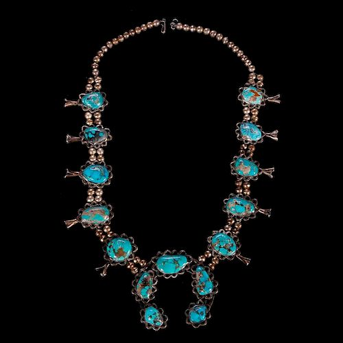 Native American turquoise and silver squash blossom necklace