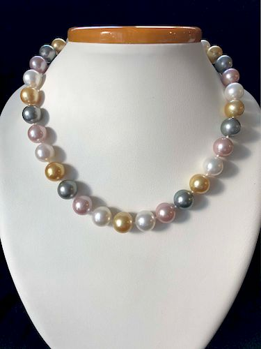 Very Fine 12mm-13.4mm South Sea, Tahitian and Pink Fresh Water Pearl Necklace