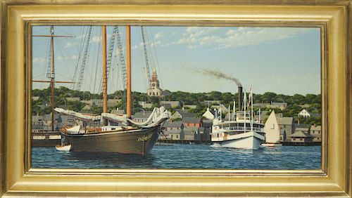 """Forrest Anderson Rodts Oil on Canvas """"Nantucket Harbor View"""""""