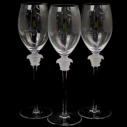 (3 Pc) Rosenthal Versace Lumiere White Wine Glasses