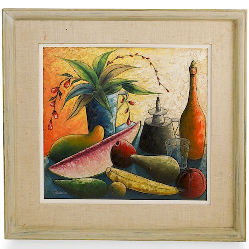 Jacques Enguerrand Gourgue (Haitian) Still Life Oil on Board