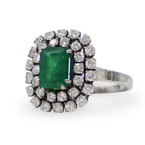 18k Art Deco and Emerald Ring