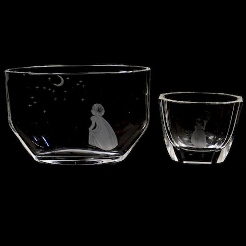 (2 Pc) Orrefors Etched Crystal Vases