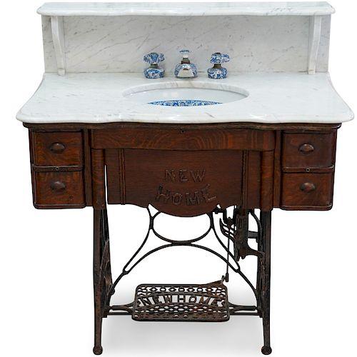 Repurposed Antique Sewing Machine