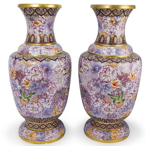 Large Chinese Cloisonne Enameled Vases