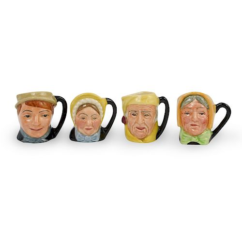 (4 Pc) Miniature Royal Doulton Porcelain Mugs