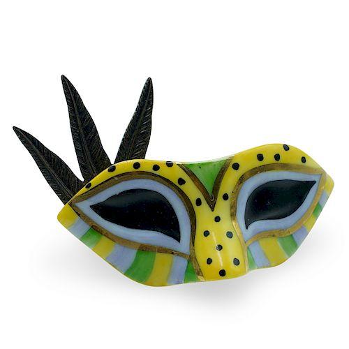 Limoges Masquerade Mask Porcelain Trinket Box