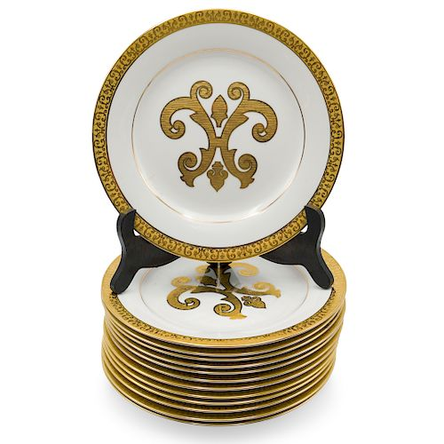 (13 Pc) Royal Gallery Gold Porcelain Plates