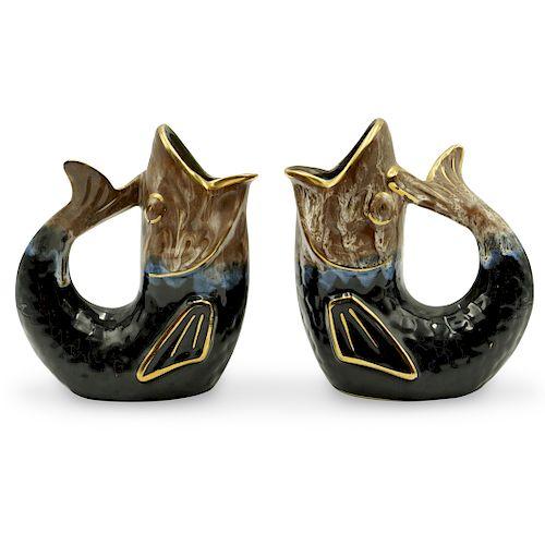 Pair Of Majolica Figural Porcelain Mugs