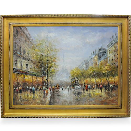 Large Signed Parisian Oil Painting