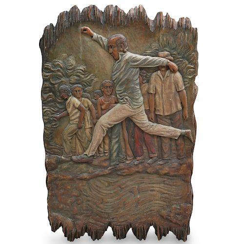 Figural Carved Wood Plaque