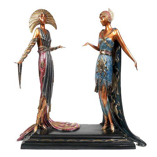 """ERTE, Bronze Art Deco """"Two Vamps"""" Statue"""