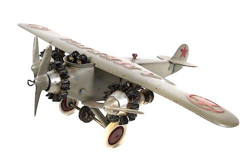 "HUBLEY Cast Iron Tri Motor AMERICA Airplane 17"""