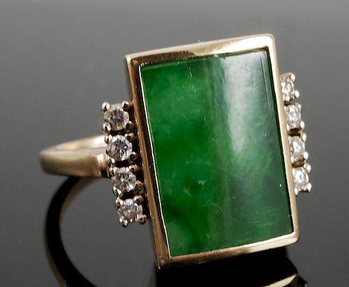 Natural JADE 14k Gold Ring, Mason Kay Report