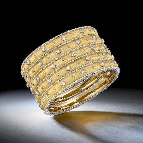 Buccellati Diamond Wide Cuff