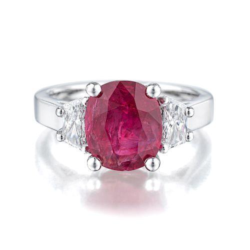 3.07-Carat Burmese Unheated Ruby and Diamond Ring